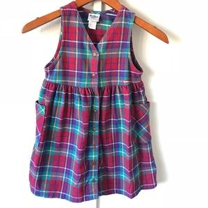 Vintage OshKosh B Gosh Plaid Flannel Dress Red